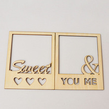 QITAI 2 Pcs Hot Selling Sweet Love Wooden Photo Frame Crafts Home Decoration DIY Scrapbooking wf075(China)