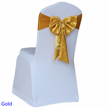 Gold colour wedding butterfly bow tie lycra satin sash self tie chair sash ready made satin lycra chair sash wholesale on sale(China)