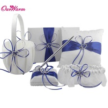 5Pcs/set Multicolors Satin Double Heart Wedding Ring Pillow + Flower Basket + Guest Book + Pen Set + Garter Decor Product Supply