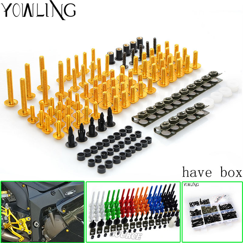 76 PCS Motorcycle Fairing Bolt Screw Nuts Washers Fastener Fixation for Yamaha YZF R1 2004 2005 2006 Complete Kit<br>