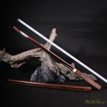 Hand Forged Chinese Tang Sword Folded Steel Blooding Red Blade Sharp Edge Real Sword Vintage Pear Hard Wood