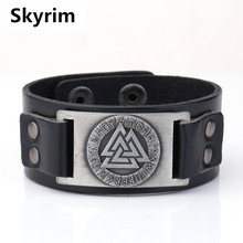 Skyrim Punk Leather Bracelet With Viking Runes Totem Metal Crafts Connector Charms Adjustable Vintage Wristband Leather Bracelet(China)