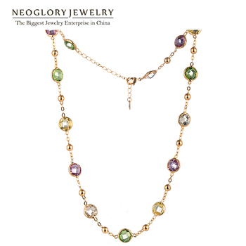 Neoglory MADE WITH SWAROVSKI ELEMENTS Crystals Gold Plated Chokers Fashion Chain Maxi Long Necklaces For Women 2017 Jewelry New