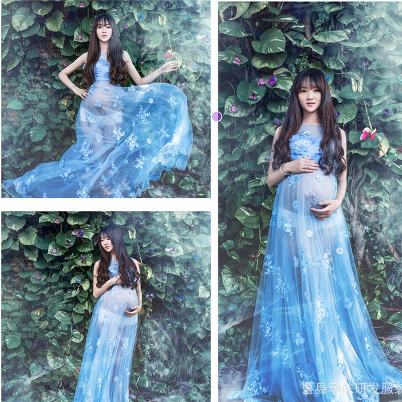 2017 New Maternity Photography Props Blue Lace Maxi Dress Pregnant Cotton Voile Dress Props Pregnancy Photo Shoot Long Dress<br>
