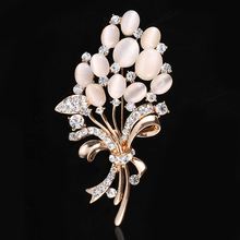 OneckOha Hot Selling Fashionable Opal Stone Flower Brooch Pin Rhinestone Garment Accessories Birthday Gift(China)