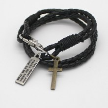 New Design hot Fashion Charm Hand-woven Men Bracelet Jewelry Leather Rope Alloy Geometry Cross Bracelets for women 2017