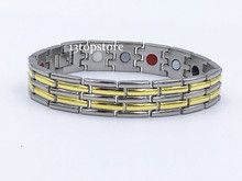 "Mens 12.5MM Titanium Magnetic Therapy Link Bracelet Negative Ion Germanium Power Health Wrist Band 8.5"" Golden Silver Tone"