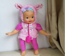 Original 33cm Little Mommy Dress Up Cutie Reborn Baby Bunny Doll / with Plush Rose Hat Clothes Nipple / Girl Birthday Gift Toy