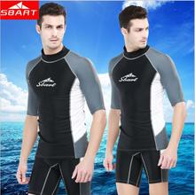 Rashguard Swim Shirts Men Short Sleeve Surf Lycra Top Sunscreen Mens Rash Guard Surf Shirt Upf50 UV Diving Suit Wetsuit J
