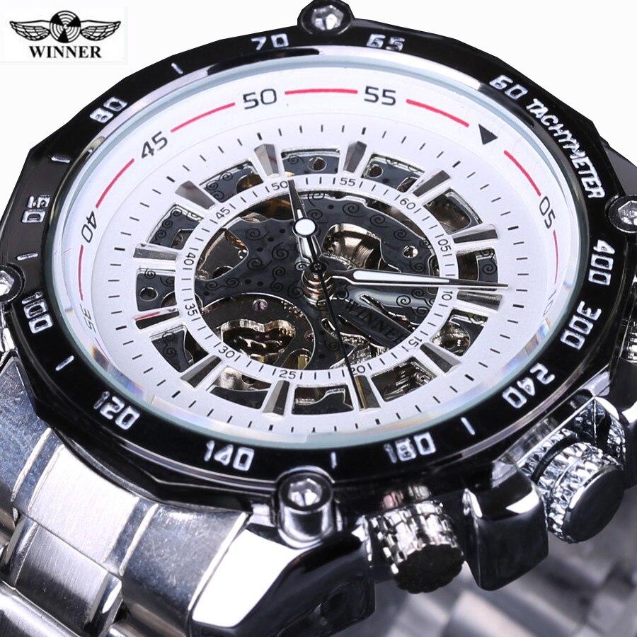 Winner Black Dial Skeleton Mens Watches Top Brand Luxury Stainless Steel Sport Watch Montre Homme Clock Men Erkek Kol Saati<br>
