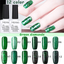 MDSKL 10ML Green Diamond Glitter Gel Polish UV Soak Off Gel Nail Polish Need UV Led Lamp  Nail Gel Art