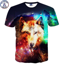 Mr.1991 very cool wolf and Galaxy 3D printed boy's t-shirt 12-20 years teenage big kids children's tshirt tops NA11(China)