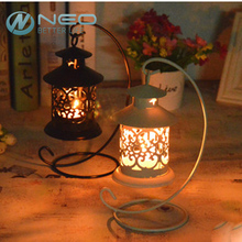 NEO Vintage Metal European Candlestick Candle Lantern Holder Articles Hanging Lantern with Candle Stand Wedding Home Decor