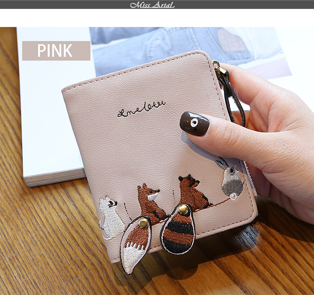 2018 Fashion Naivety Short Wallet Embroidery Fox Wallets Female PU Leather Hasp Coin Purse Zipper Clutch  drop shipping 51