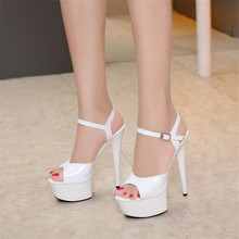 Women Shoes 2018 New 15cm High-heeled Sexy Fish Mouth with T-Taiwan Catwalk Models Show Car Show Female Sandals Bridal Shoes(China)