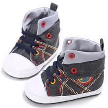 Infant Baby Boy Girl Shoes Lace-up Casual Sneaker Plaid Splice Soft Sole Crib Shoes Prewalkers Car Cartoon Images Cowboy(China)