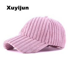XUYIJUN 2017 New Design Baseball Cap Fashion Womens Winter Hats for Women Golf Polo Hat Plush cap Light corduroy coarse stripes