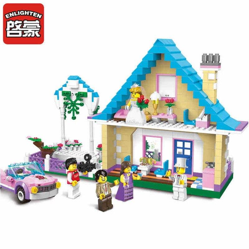 1129 ENLIGHTEN Girl Friends Marriage Room Wedding Bridegroom Model Building Blocks DIY Figure Toys For Children Compatible Legoe<br>