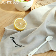 DUNXDECO 1PC 40x40CM Simple Chick BREAKFAST Words Embroidery Cotton Table Placemat Tea Towel Decorative Cover Photo Prop Ground