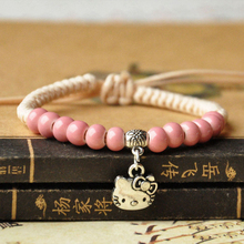Hello Kitty Bracelet Charms For Girls Candy Color Beads Braided Rope Ceramic Bracelet Women Ethnical Handmade Vintage Jewelry