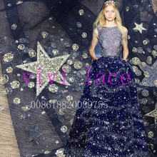 5yards HL249 silver star navy blue mesh romantic net tulle for wedding dress/evening dress/fashion show,ship by dhl