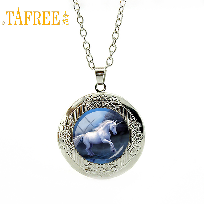 TAFREE Leisure series essential hottest animal Horse necklace Unicorn art locket pendant fashion morocco mandala jewelry N978