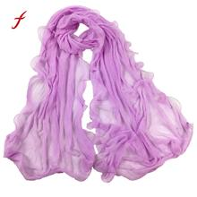 Feitong Quality Fashion Women Winter Solid Long Soft Scarf Wrap Poncho Casual Warm Shawl Stole Pashmina Scarves Female Snud(China)