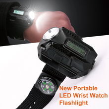 2017 Men Led watch flashlight rechargeable linterna led flashlight with battery Torch Light USB tactical Outdoor Wrist watch S