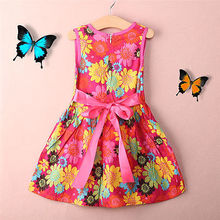 2016 New summer kids clothes floral bow 100% cotton child party princess tank girl dress sundress