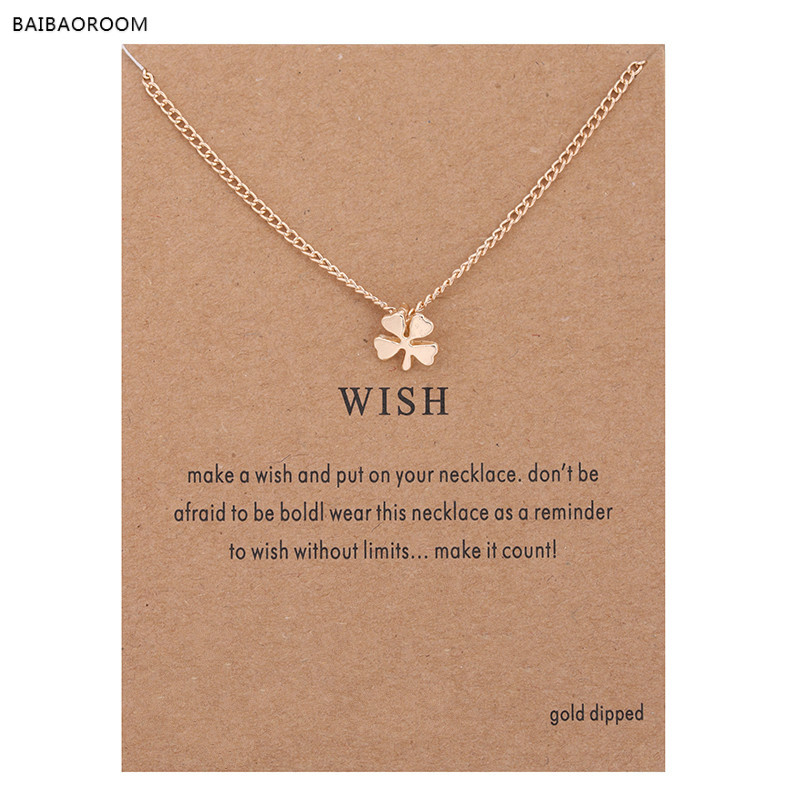 Hot Sale Sparkling Wish Circle Pendant necklace gold plated Clavicle Chains Statement Necklace Women Jewelry(Has card)