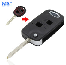 Dandkey 2 Buttons Flip Remote Car Key Case for Toyota Camry Echo Avalon Corolla RAV4 Fob Car Cover TOY43 Uncut Blade WITH LOGO