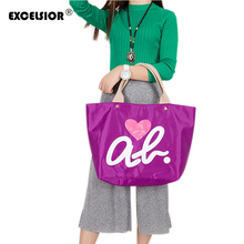 EXCELSIOR New Brand Hear Love Pattern Tote Handbag Waterproof Shopping Bag Women's Hand Bag Girls Casual Purse Oxford Nylon Bags(China)