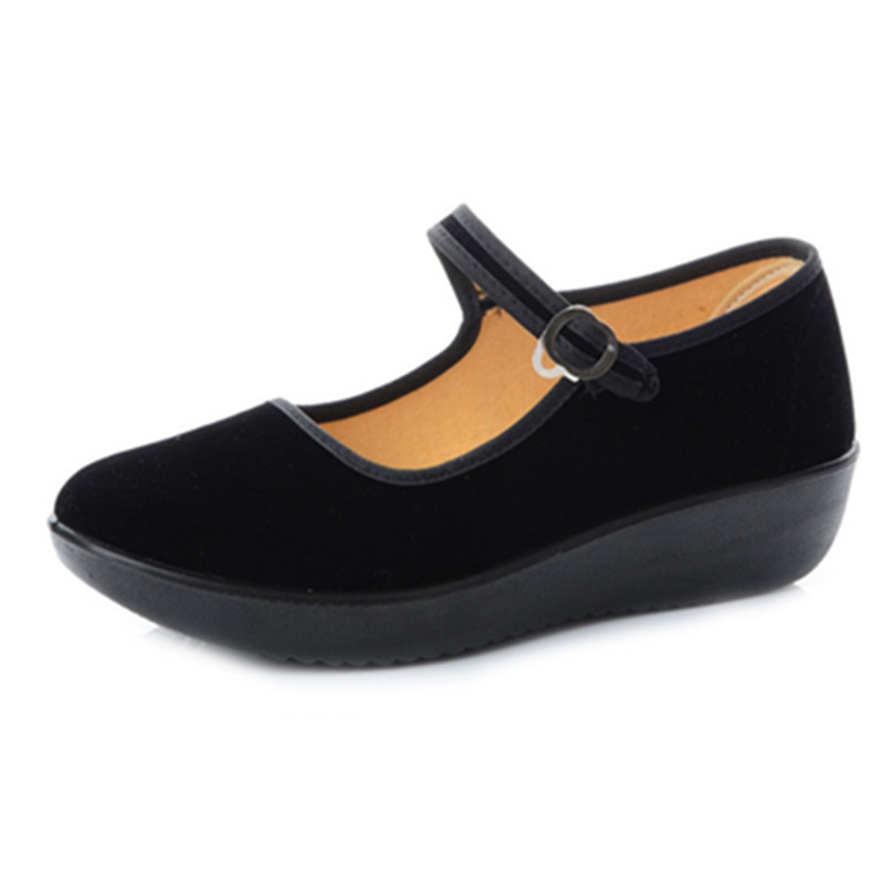 New 2017 Platform Wedges Shoes for Women Breathable  Mary Jane Shoes Women Black Flats Mother Dance Shoe<br><br>Aliexpress