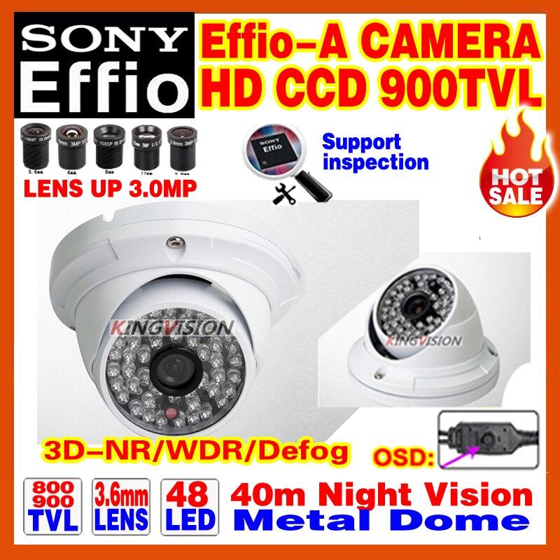 High-End Dome 1/3Sony Effio-E-A 800/900TVL 3.0MP-LENS Security Surveillance Hd CcTV Camera 24 Day/Night Infrared 40m OSD Meun<br><br>Aliexpress