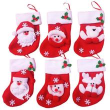 6 pcs mini Christmas stocking / socks candy bag Christmas Gift Bag Navidad Storage Bags Christmas Decoration LW0050(China)