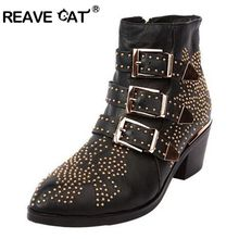 REAVE CAT Winter Top-Lined Susanna Studded Leather Buckle Ankle Boots For Women Round Toe Kitten Heels Shoes Women zapatos mujer