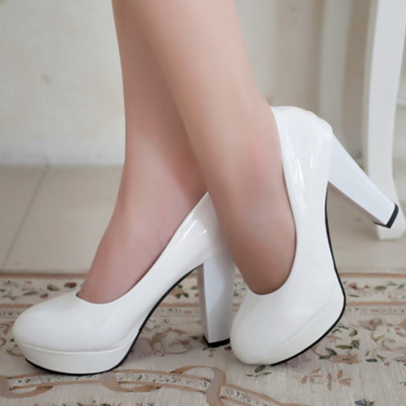 2017 Spring Black White Red Round Toe Thick Heel Single Women Shoes Patent Leather Pumps Platform High Heels Plus Size 42 ZK0.5<br><br>Aliexpress
