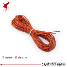 Low cost 15 m 33 ohm silicone rubber carbon fiber heating wire Heating cable Infrared heating warm floor heating system
