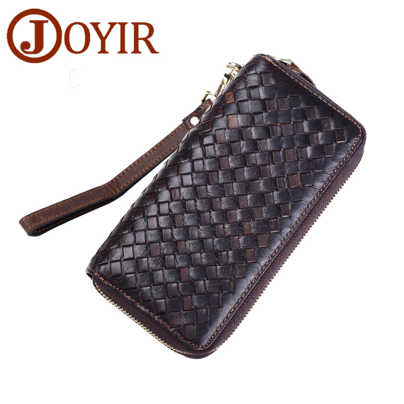 JOYIR New Genuine Leather Men Long Wallet Clutch Casual Money Card Holder Handbag Vintage Zipper Coin Purse Wallet For Man 9362<br>