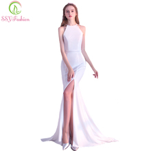SSYFashion Summer New Evening Dress Banquet Simple Halter High-split Sexy Sleeveless Mermaid Long Prom Dresses Formal Party Gown(China)