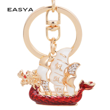 EASYA Chinese Gift Dragon Boat Smoothly Keychain Car Bag Ornaments Accessories Manufacturers Direct Sale CHY-3182(China)