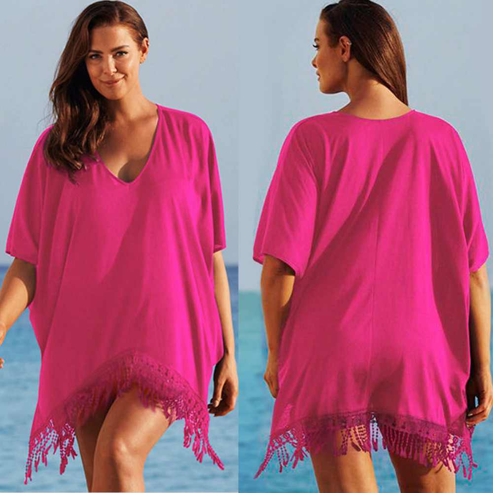 Plus Size 3xl Mini See Through Chiffon Dress For Women Sexy Tassel Crochet Tunic Beach Dress Beach Wear 10