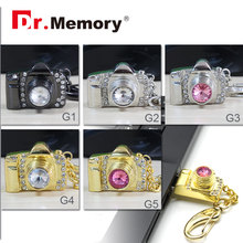 Camera USB flash drive pen drive metal USB 4g/8g/16g/32g USB stick jewel USB flash memoria stick U stick diamond flash card(China)