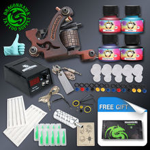 Cheap Beginner Tattoo Kit High Cost-performance 1 Tattoo Machine Gun 4 Tattoo Inks Tattoo Supply(China)