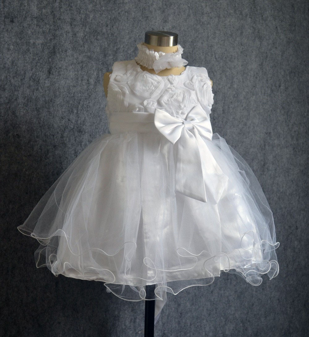 hot-selling solid white christening baby girl dress with headband flower girl wedding dress baptism toddler dress<br><br>Aliexpress