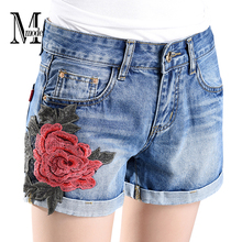 Flowers Denim Shorts With Embroidery High Waist Jean Shorts Women Summer 2017 Fashion Vintage Casual Floral Shorts Jeans Womens