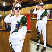 2017 Spring and Summer Female Suit Peacock Cashmere Trousers With Sequins Women's Tracksuits Thin Pullover B142