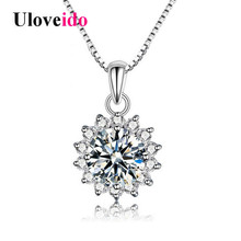 Uloveido 40% Off Sunflower Necklaces & Pendants Silver 925 Jewelry Necklace Women Suspension White Cubic Zirconia with Box YA197(China)