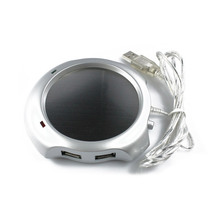 Creative 2.5W 5V 4 Port USB Hub Coffee Tea Cup Warmer Heater Pad USB Gadge Warmer Silver(China)