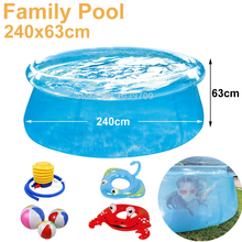 giant size 240cm transparent blue above ground pool family pool inflatable swimming pool for adults kids child aqua piscina